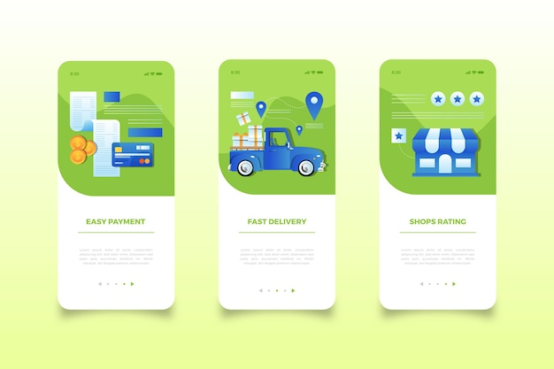 Telas de aplicativos móveis da loja virtual