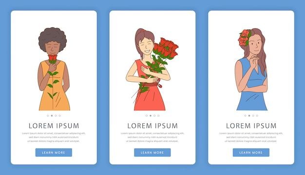 Telas de aplicativos móveis de loja de flores. dia da flor, modelo de site de dia de mulher.