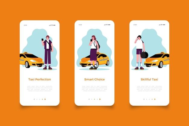 Telas de aplicativos móveis de serviço de táxi