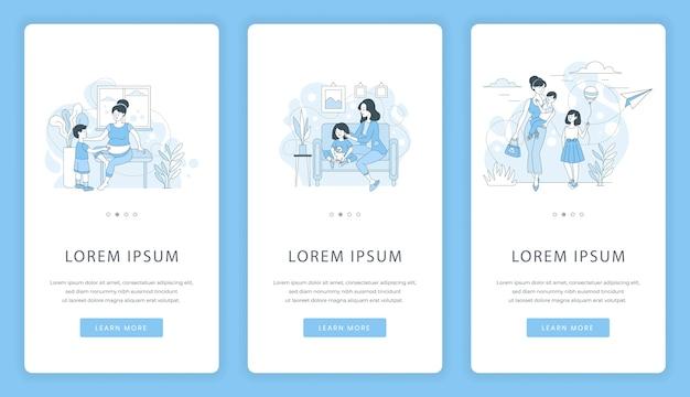 Telas de aplicativos móveis para maternidade e infância. mãe, passar um tempo com as crianças.