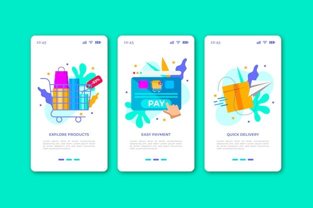 Telas de aplicativos on-line de compra on-line