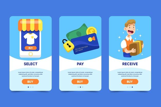 Telas de aplicativos on-line de compras on-line