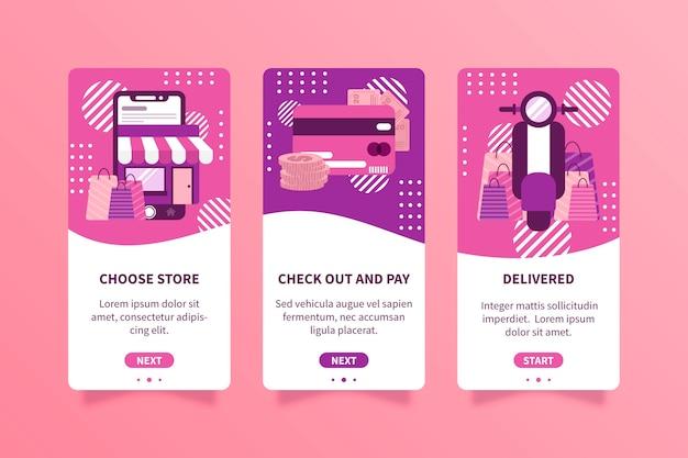 Telas de aplicativos on-line para compra