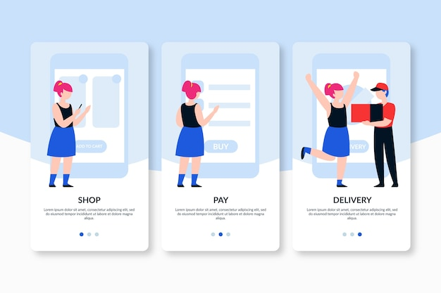 Telas de aplicativos onboarding de compra e entrega on-line