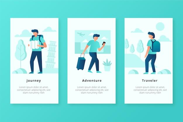 Telas de aplicativos para dispositivos móveis traveler
