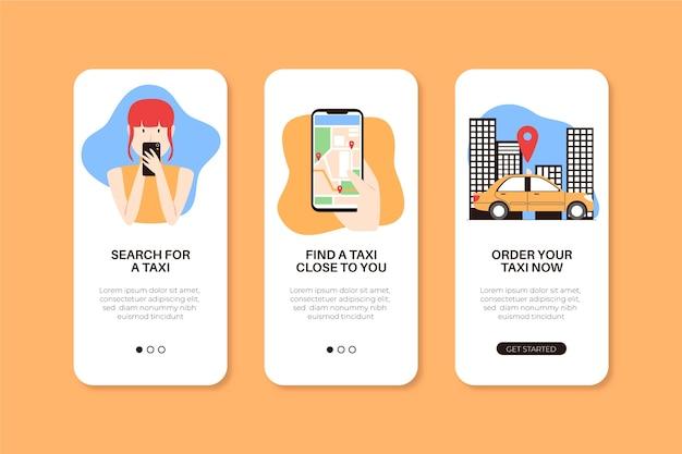 Telas de aplicativos para o serviço de táxi