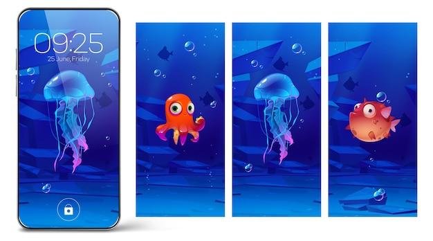 Telas de bloqueio de smartphones com animais subaquáticos, páginas de desenhos animados a bordo para celular. papel de parede digital para dispositivo com baiacu fofos, água-viva e polvo, coleção de design de interface de usuário