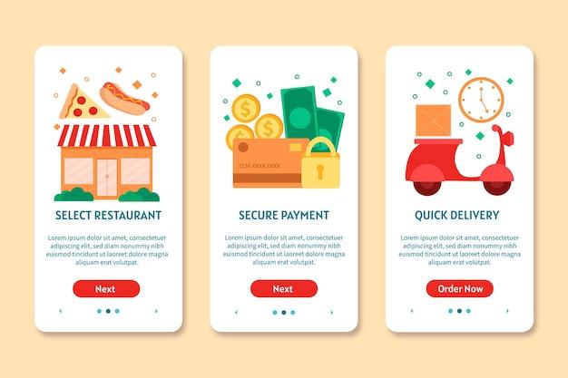 Telas de integração de entrega de alimentos