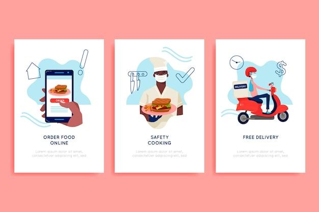 Telas de integração do aplicativo de entrega de alimentos