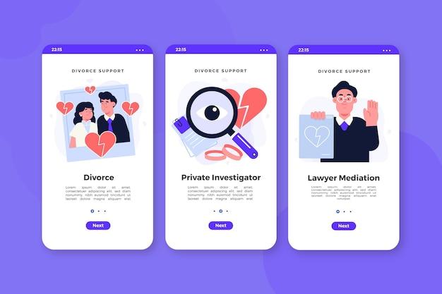 Telas de integração para meditação de divórcio