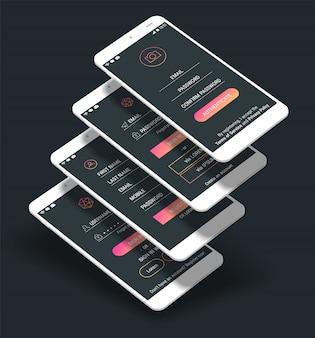 Telas de interface do usuário do aplicativo móvel e telas de inscrição