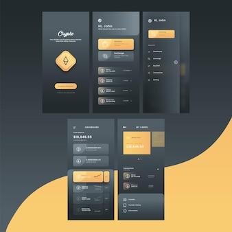 Telas de interface do usuário do crypto mobile app, incluindo curtir para criar conta