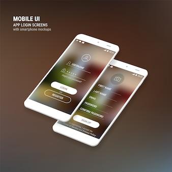 Telas de login e inscrição da iu e kit de smartphone 3d