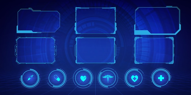 Telas de quadro de alta tecnologia da interface do usuário, hud, interface do usuário e pequenos textos explicativos para design de plano de fundo do conceito de inovação médica de ícones de cuidados de saúde de ícones.