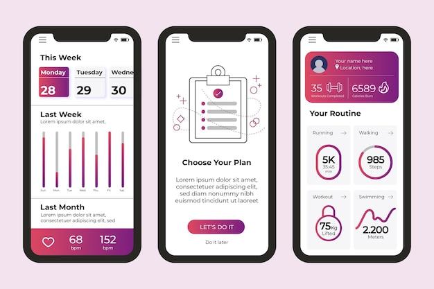 Telas do aplicativo de acompanhamento de exercícios
