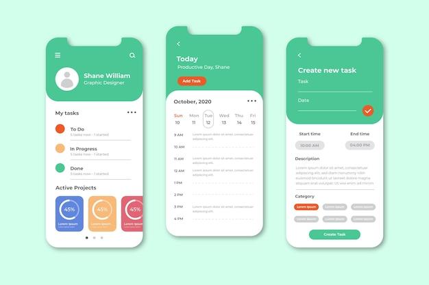 Telas do aplicativo de gerenciamento de tarefas