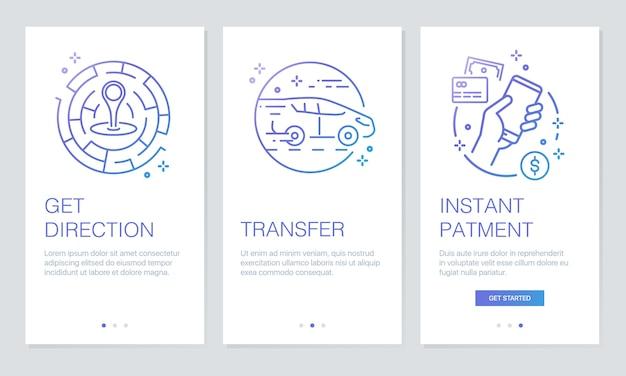 Telas do aplicativo de integração de transporte.