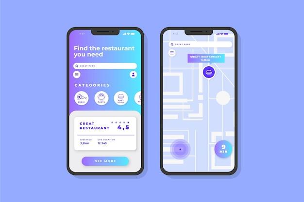 Telas do aplicativo de localização