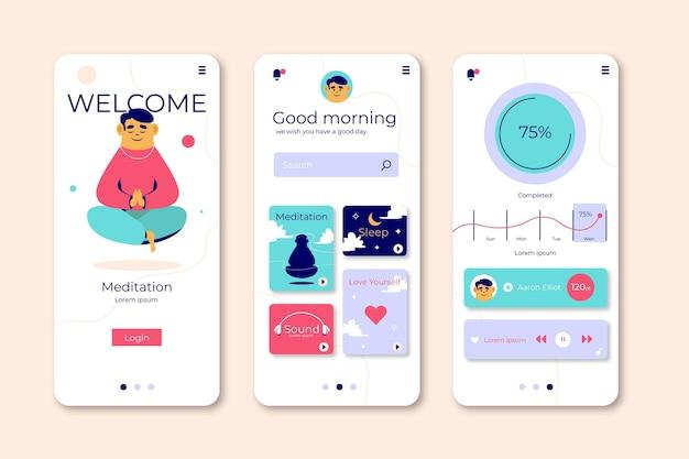 Telas do aplicativo de meditação