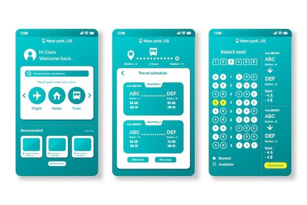 Telas do aplicativo de reserva de viagens