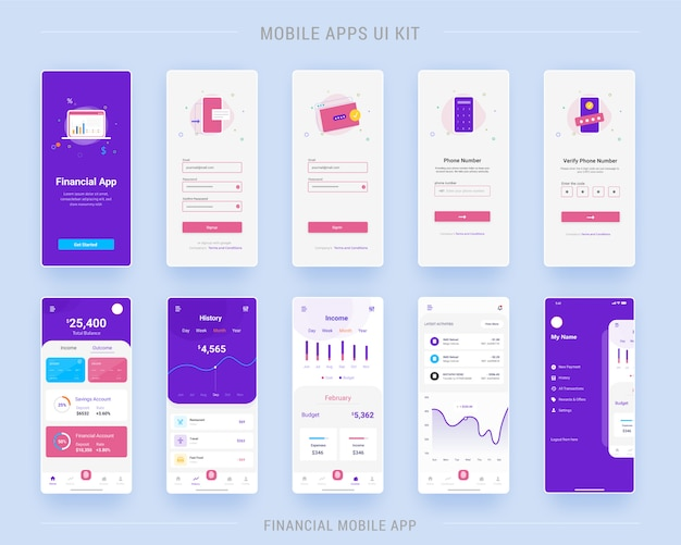Telas do kit de interface do usuário do aplicativo móvel do aplicativo financeiro