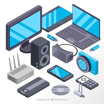 Telas e dispositivos eletrônicos isométricos