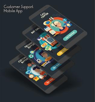 Telas iniciais de aplicativos móveis de iu de atendimento ao cliente responsivas com design plano