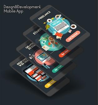 Telas iniciais de aplicativos móveis de ui de design e desenvolvimento responsivos com design plano