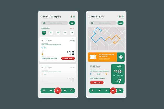 Telas minimalistas de aplicativos de transporte público