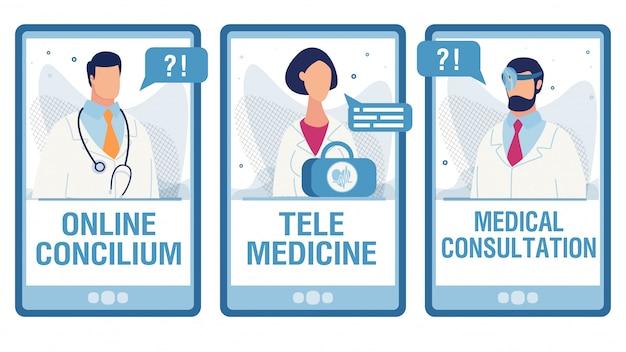 Telas móveis definidas com serviços médicos on-line