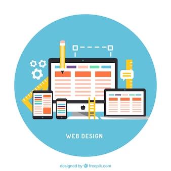 Telas planas com elementos da web