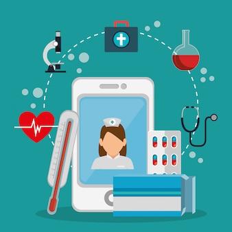 Tele medicamento on-line com smartphone