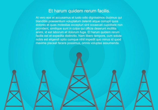 Telecomunicações celular torres em estilo plano de papel volumétrico