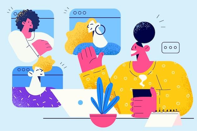 Teleconferência, trabalho distante, conceito de comunicação online.