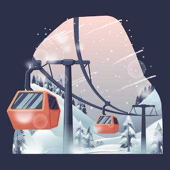 Teleférico na montanha do inverno