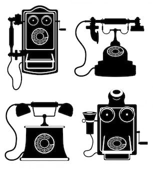 Telefone antigo retro vintage vector ilustração silhueta de contorno preto