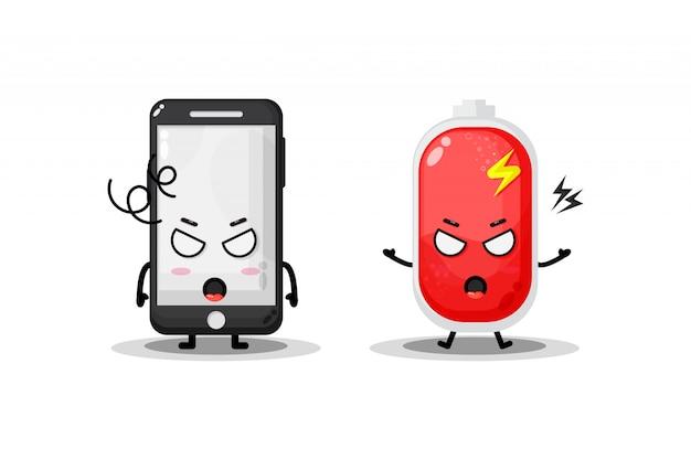 Telefone bonito e bateria com expressões de raiva