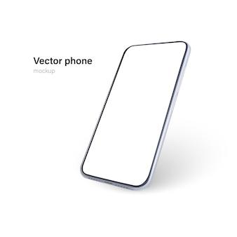 Telefone branco isolado no fundo branco.
