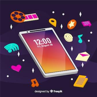 Telefone celular antigravidade com elementos