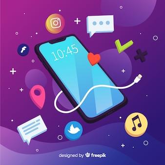 Telefone celular antigravidade isométrica com aplicativos