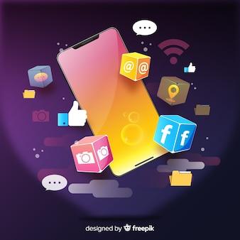 Telefone celular antigravidade isométrico com aplicativos e notificações