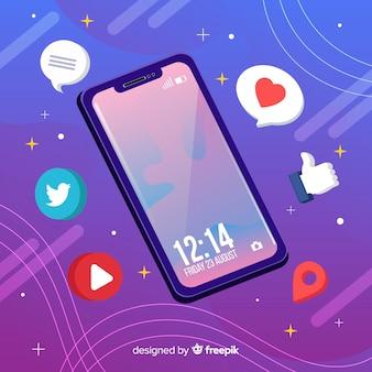 Telefone celular antigravidade isométrico com notificações
