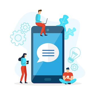 Telefone celular bate-papo com discurso de bolha