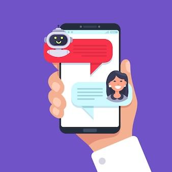 Telefone celular batendo papo com bot de bate-papo