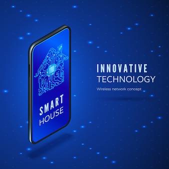 Telefone celular com aplicativo de interface de casa inteligente. silhueta de construção de circuito na tela do smartphone.