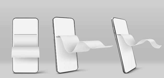 Telefone celular com conta financeira em papel na frente e vista angular