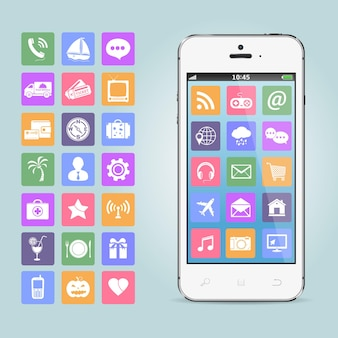 Telefone celular com ícones de aplicativos
