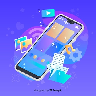 Telefone celular com ícones de mídia ao lado
