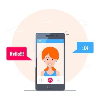 Telefone celular com interface de aplicativo de chat de vídeo. video chamada