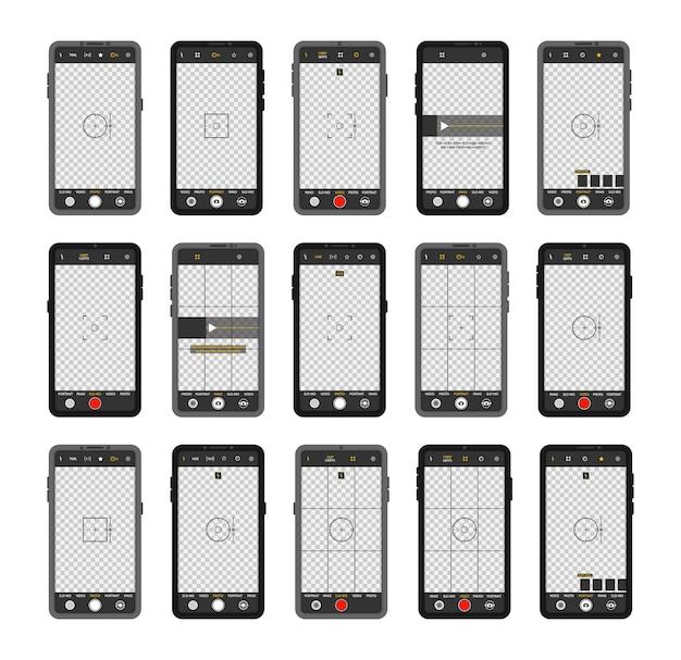 Telefone celular com interface de câmera. visor, grade, foco, botão e gravação no smartphone. gravação de vídeo para uma rede social. aplicativo de aplicativo móvel. tela de foco no tempo de gravação.